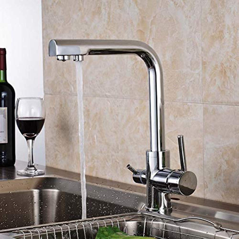 KLYBFN&N Küchenmischer Wasserhahn Chrom Poliert Reine Wasserhhne Dual Griffe Einloch