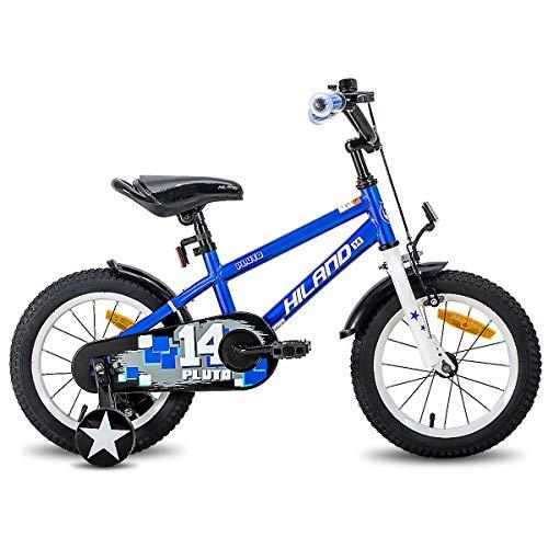 Hiland Pluto - Bicicleta infantil de 16 pulgadas para niños y niñas de 4 años con ruedas de apoyo, freno de mano y freno de contrapedal, color negro