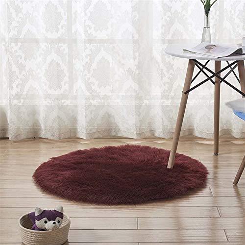 Jnszs Área de imitación de Piel de Oveja de Piel Suave Ronda Alfombras for el Dormitorio Sala Pavimento lanudo Sedoso Alfombra de Felpa Blanca de Piel Falsa Alfombra de la Manta