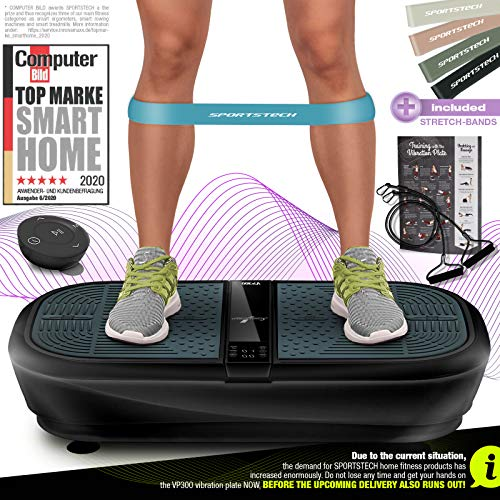 Sportstech 3D Vibration Plate VP300 | Mega Fat Burner + 5 Fitness...