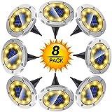 Solar Bodenleuchten, 8 Stück 8 LEDS Solarleuchten Solarlampen Gartenleuchten für Außen, Solarlicht Garten Licht, IP65 Wasserdicht Bodenstrahler Licht für Rasen, Patio, Hof, [Energieklasse A+]-Warmweiß