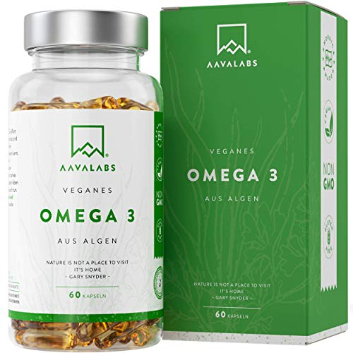 Omega 3 Vegan [1100 mg ] - Omega-3-Fettsäuren aus Algenöl - 300 EPA and 600 DHA pro Tagesdosis - 100% pflanzlich - Unterstützt normale Gehirnleistung & Sehkraft - 120 Weichkapseln