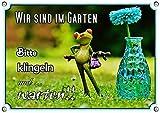 Petsigns Fun Schild - Gartenschild mit Frosch und Vase - Wir sind im Garten, DIN A5