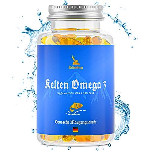 Keltenberg Omega 3 - extra hochdosierte Triglyceride Fischöl-Kapseln mit 500mg EPA, 250mg DHA ohne Vitamin E - 90 premium Kapseln aus Wildfang