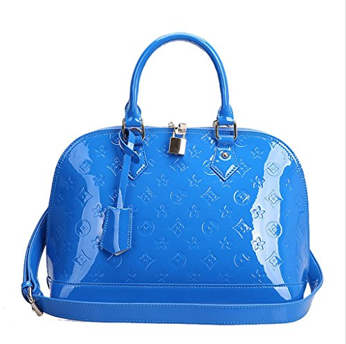 C&L Womens Genuine Leather Water Ripples Pattern Shoulder Bag Sky Blue