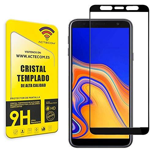 actecom® Protector Pantalla 3D 5D Negro Cristal Templado para Samsung J6 Plus Completo con Marco 2.5D Samsung J6 Plus