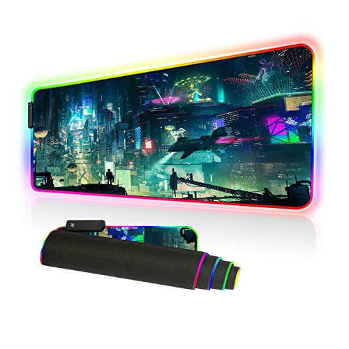 Imegny Led Gaming Mouse Pad Oversized Glowing Mat Colorful Soft Mat for Mice Computer Keyboard with Non-Slip Rubber Base Water-Resistant (80x30 rgbgreencity)
