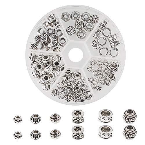 PandaHall Elite 130 Stück/Box tibetischen Legierung Spacer Perlen mit großem Loch für Armband Halskette Schmuck Machen ewelrys Zubehör, 6 Stile, Antik Silber
