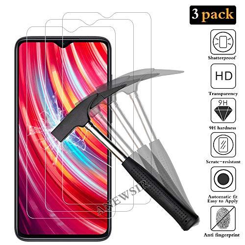 ANEWSIR 3 Stück Schutzfolie Bildschirmschutzfolie für Xiaomi Redmi Note 8 Pro, HD Bildschirmschutzfolie, 9H Härte, Ohne Luftblasen, Anti-Kratzer, Bildschirmschutzfolie Folie für Redmi Note 8 Pro.