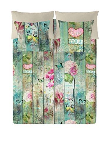 Euromoda Lovers, algodón, Verde/Beige, Cama 105 (180 x 220 cm)