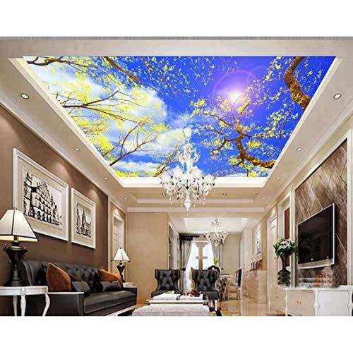 Rureng Árboles De Pintura De Techo 3D Europeos Bajo El Cielo Azul Papel Tapiz 3D De Techo Papel Tapiz No Tejido Murales 3D Techo-250X175Cm