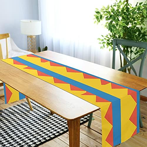 LORDWEY Camino de mesa de la bandera de Colombia, mantel antideslizante resistente al calor para mesa de comedor, fiesta, 35,5 x 274,3 cm