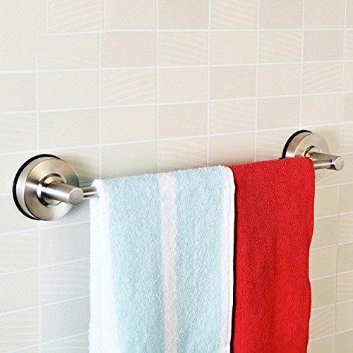 MBYW moderne minimalistische hoge dragende handdoek rek badkamer handdoekenrek Punch-vrije handdoekhouder 40cm / zuignap roestvrij staal handhanddoek staaf Geschikt voor badkamer, slaapkamer