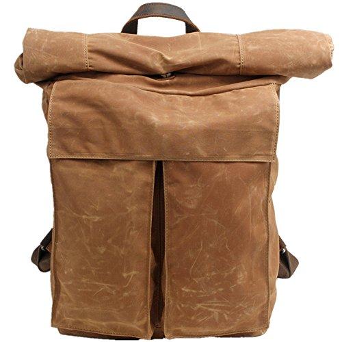 DRF Vintage Rucksack Roll Top Canvas Backpack für Reise Wandern Trekking fit 17 ZollLaptop BG243 (Khaki)