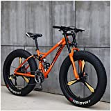 CDFC Fat Tire Mountain Bike, 26 inch MTB Bike with disc Brakes, Frame Made of Carbon Steel, MTB for Men and Women,7 Speed
