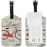 Etiqueta de identificación de Etiqueta de Maleta de Equipaje de Equipaje de Cuero de Bicicleta Vieja del Reino Unido para Viajes (2 Piezas)