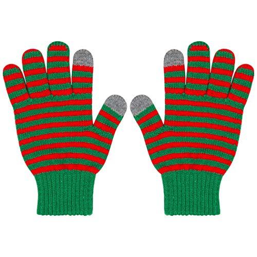 Gone For a Run Christmas Stripe Elf Gloves   Touchscreen Running Gloves