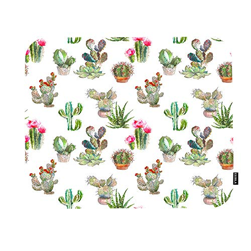 EKOBLA Summer Cactus Mouse Pad Watercolor Tropical Floral Green Plants Succulent Cool Design Gaming Mouse Mat Non-Slip Rubber Base Thick Mousepad for Laptop Computer PC 9.5x7.9 Inch