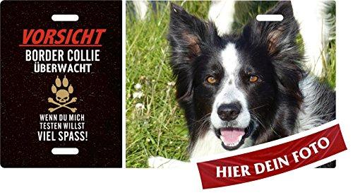 Holashirts Mallorca Hundeschild selbst gestalten - Vorsicht - Border Collie Hundewarnschild Türschild mit eigenem Foto