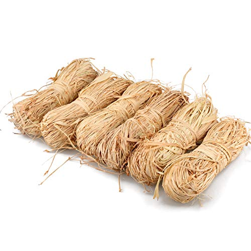 Raffia Ribbon 300g,Natural Raffia Grass Ribbons for Florist Bouquets Decoration,Gift Wrapping,Gift Box Filler,Craft DIY (6x50g)