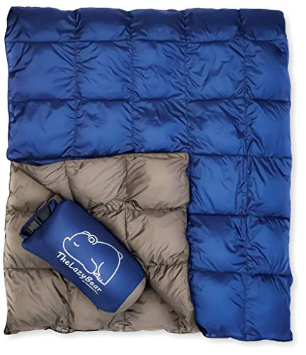 """Lightweight Puffy Camping Blanket for Hiking Backpacking Hammock Tent Stadium Travel (Navy Gray, 78"""" X 52"""")"""