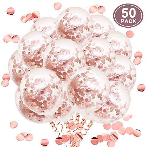 SKYIOL Rosa Gold Konfetti Luftballons 50 Stück 30 cm Rosegold Glitzer Pailletten Helium Latex Ballons für Kinder Mädchen Damen Party Dekorationen Hochzeit Geburtstag Valentinstag, Set 11