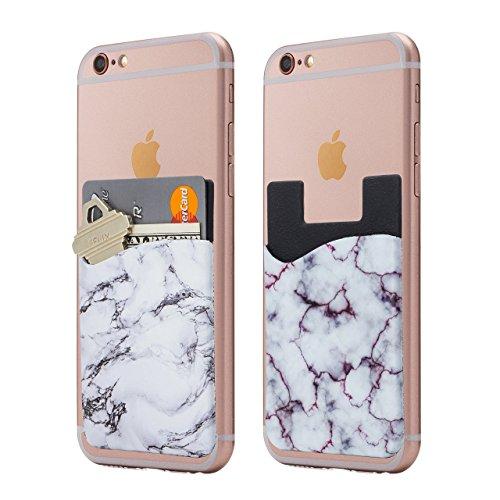 CARDLY 대리석 휴대 전화 스틱 지갑 카드 홀더 전화 포켓 아이폰-화이트