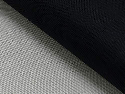 Tüll - Meterware - für Bekleidung & Deko - 140 cm - standfest und hochwertig - Meterpreis (Schwarz)