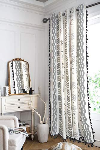 Boho Window Curtain Bohemian Geometric Curtain Panel with Tassels 94 ×59 Inch Boho Cotton Linen Drape for Bedroom, Living Room Grommets Tribal Geo Curtain 1 Panel