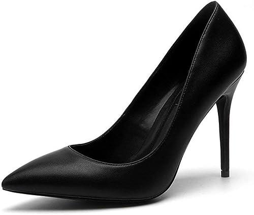 Hhor Chaussures 8cm, Talons Hauts Hauts de Printemps Noirs de 10cm, Les Les dames Bien avec Le Mat Professionnel élégant élégant (Couleuré   noir10cm, Taille   33 EU)  magasin fait l'achat et la vente