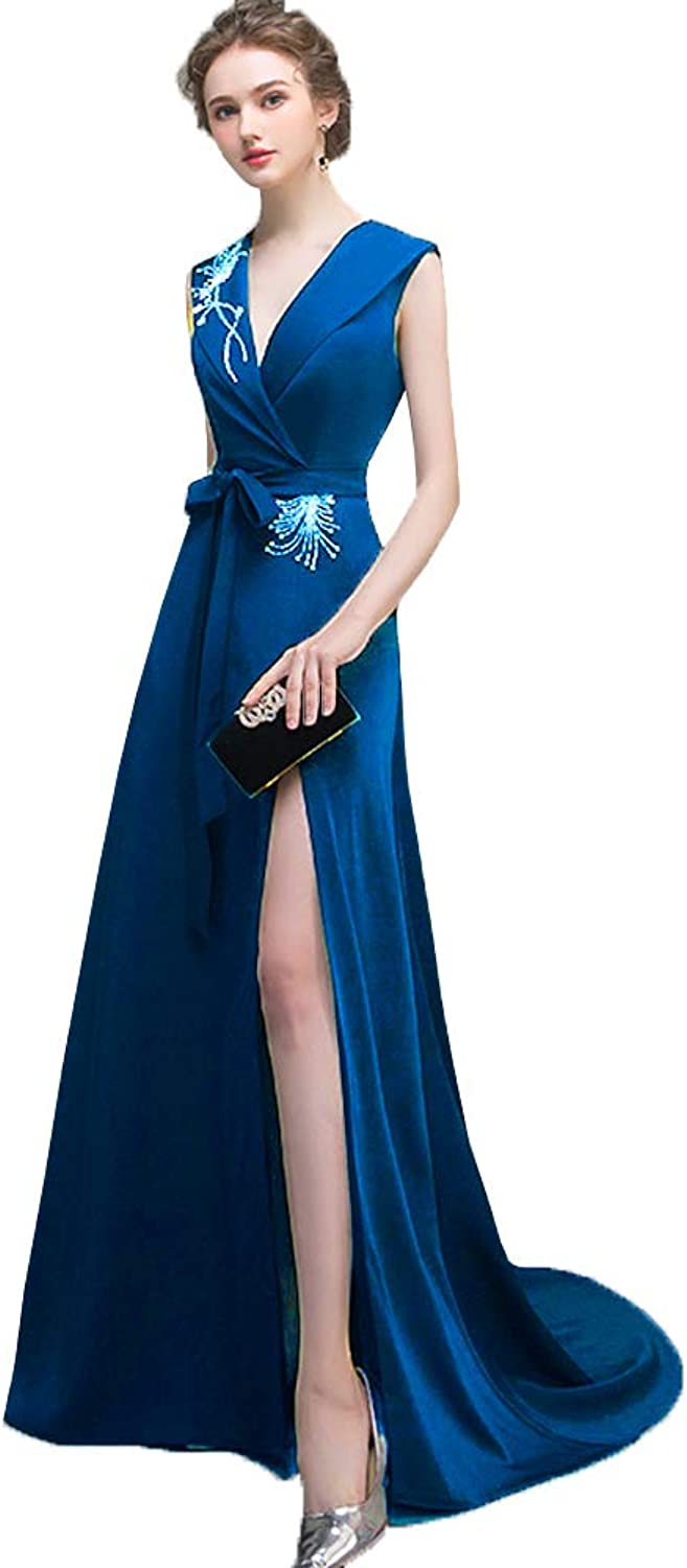 OkayBridal Simple V Neck Evening Dresses Beaded Formal Long Party Gowns with Belt