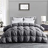 HOMBYS All-Season Goose Down Comforter King Size Duvet Insert Feather Hypo-allergenic Grey Pinch Pleat 100% Cotton Cover Down Proof with Corner Tabs Premium Baffle Box Design---Gray Down Comforter