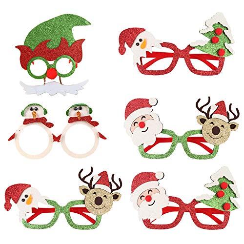 INTVN Gafas de Navidad, 6 Piezas Gafas de árbol de Navidad Gafas Divertidas Creativas Navidad Gafas de Disfraces Accesorio de Fiesta Decoración Navidad, para Niños y Adultos Fiesta de Navidad