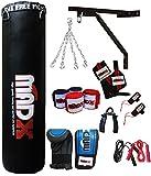 MADX Kit de boxe 13pièces avec sac de frappe rempli, gants, chaîne et support 1,2m