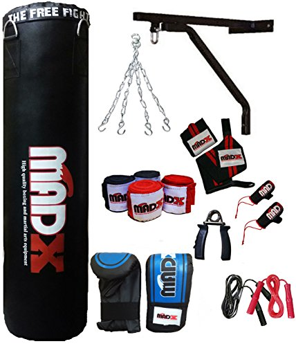 MADX 13piezas 4ft Juego de boxeo con saco de boxeo, guantes, cadena, soporte kickbag