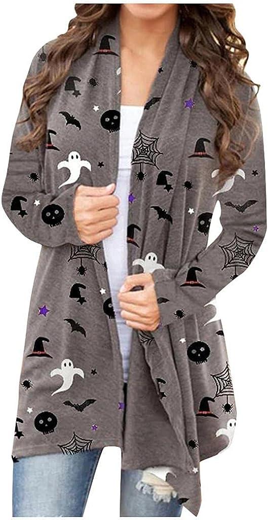Masbird Womens Halloween Cardigan, Womens Cute Pumpkin Ghost Graphic Open Front Tops Long Sleeve Lightweight Coat