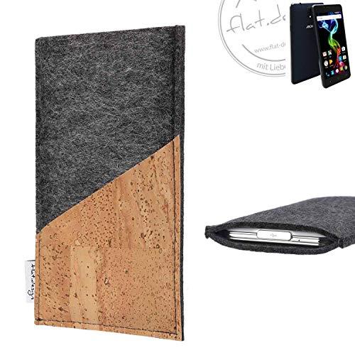 flat.design Handy Hülle Evora für Archos 55b Platinum handgefertigte Handytasche Kork Filz Tasche Case fair dunkelgrau