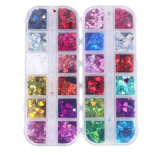 Minkissy Herz Nail Art Glitter 2 Boxen Holographische Pailletten Bunte 3D Nagel Pailletten Valentinstag Nail Art Dekorationen für Frauen Mädchen