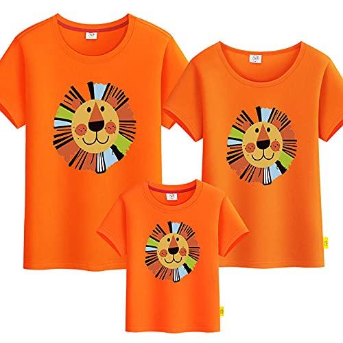 SANDA T-Shirt Mujer,Kindergarten león Cuello Redondo Camiseta Padre-niño Servicio de Clase de niños Deportes Hombros Mangas Cortas-Naranja_Niños 100