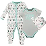 Luvable Friends Unisex Baby Sleep and Play, Bodysuit and Bib, Elephants, 0-3 Months
