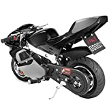 US Stock - 49cc Mini Gas Power Pocket Bike Motorcycle 4-Stroke Engine Motorcycle Holeshot Off Road Motorcycle for Kids Teenagers (Black, 105x60x65cm)