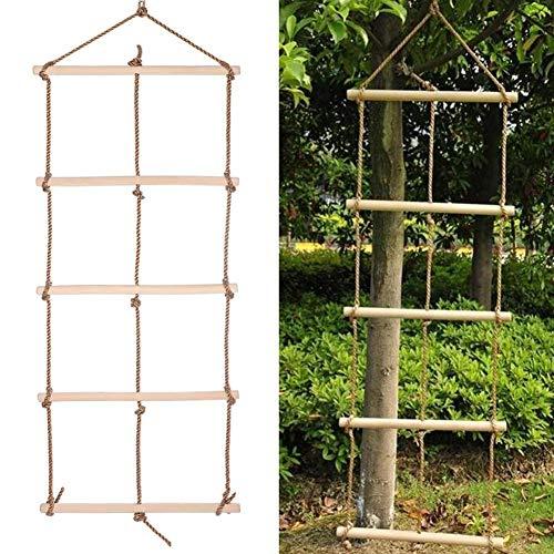 mementoy Holz Strickleiter für Kinder und Erwachsene Kletterseil Kletterleiter mit 5 Holzsprossen für Klettern Rahmen, Baumhaus, den & Play House, Maximale Tragfähigkeit 80 kg