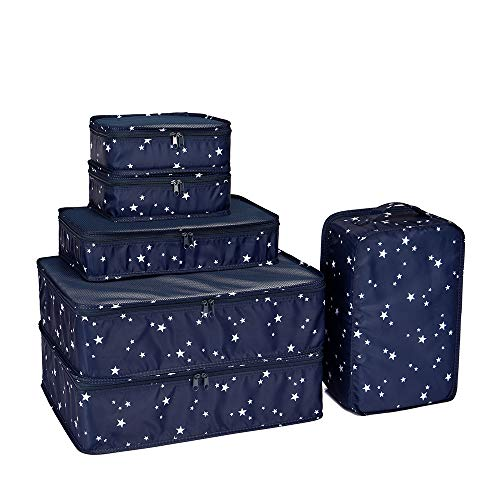 JJ POWER Travel Packing Cubes, Luggage Organizers with Shoe Bag (Star)