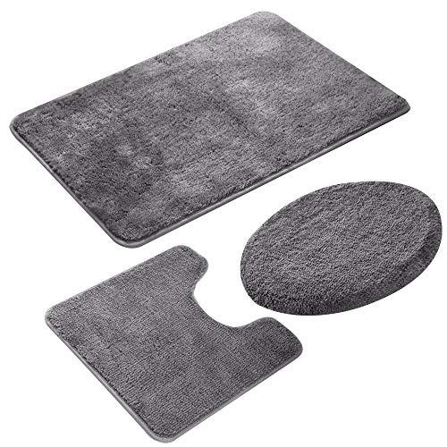 Jian Ya Na 3-teiliges Badezimmerteppich-Set, rutschfester Mikrofaser, zottelig, weich, Badematte, Toilettensitzbezug, Grau