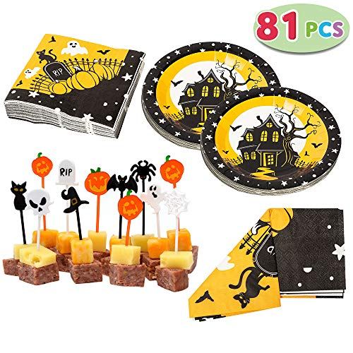 """Spooktacular Creations Halloween Party Tableware Set Including Table Cover (54"""" by 108""""), Napkins, Paper Plates."""