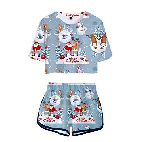 Verano de Las Mujeres Pijamas de Dos Piezas Set pantalón Corto y Camiseta Día de Navidad 3D Navidad Papá Noel Reno Muñeco de Nieve Copo de Nieve (13,XXL)