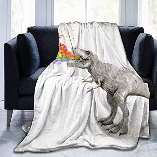 T Rex Dinosaur Puke Taste Rainbow Micro Fleece Flannel Throw Blankets Lightweight Super Cozy Bed Blanket Fit Sofa Suitable for All Season