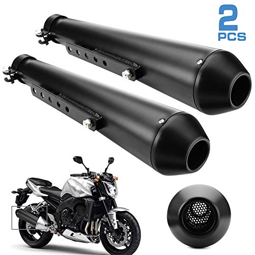 Motorcycle Exhaust Muffler, 1.5-2' Inlet Universal Exhaust Muffler Stainless Steel Motorcycle Muffler Silencer Pipe Slip on with Moveable DB Killer for Dirt Bike Street Bike Scooter, Black(2 pack)