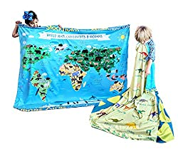 7. Birdy Boutique I Love Dinosaurs Species Names Reversible World Map Chart