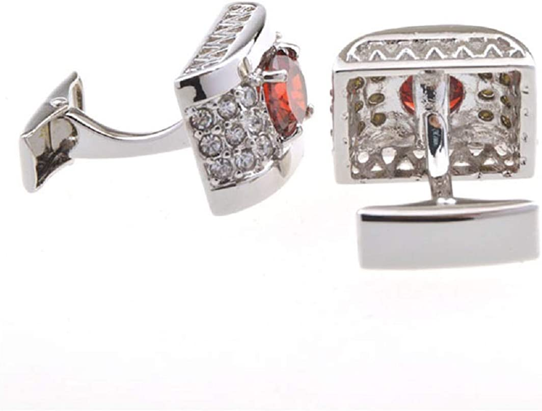 MRCUFF Red & Clear Round Crystals Rectangle Base Cufflinks Pair in a Presentation Gift Box & Polishing Cloth